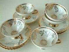 Set of 5 Vintage art deco porcelain tea / coffee cups by Chanteduc