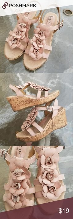 d2e407a6e7 B.O.C Nude Platform Wedge Sandals Size 7. Nude leather with floral detail.  2.5