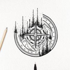 Amazing Compass and Mountain Tattoo Sketch - Amazing Compass and . - Amazing Compass and Mountain Tattoo Sketch – Amazing Compass and Mountain Tattoo Sketch – – # - Tattoo Sketches, Tattoo Drawings, Body Art Tattoos, Small Tattoos, Girl Tattoos, Tattoos For Guys, Sleeve Tattoos, Tatoos, Theme Tattoo