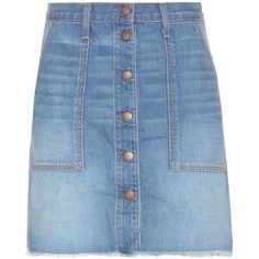 Current/Elliott The Navel Denim Skirt (2,615 GTQ) ❤ liked on Polyvore featuring skirts, blue, blue denim skirt, knee length denim skirt, denim skirt, current elliott skirt and blue skirt