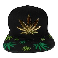 d083ba68c53 Cap2Shoes Men s Marijuana Metal Weed Leaf Snapback One Size