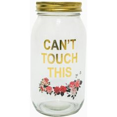 Can't Touch This Mason Jar Coin Bank (280 MXN) ❤ liked on Polyvore featuring home, home decor, small item storage, money box and money bank