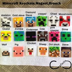 Party Favor gift Minecraft characters Perler Beads by Crafinity Use for calendar toss game? Perler Bead Designs, Hama Beads Design, Hama Beads Patterns, Beading Patterns, Perler Beads, Fuse Beads, Minecraft Perler, Minecraft Crafts, Minecraft Characters