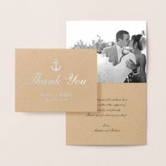Nautical Silver Anchor Thank You Photo Note Card - elegant gifts classic stylish gift idea diy style