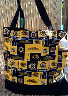 Boston Bruins Diaper Bag Custom Tote Bag Purse, Hockey Shopping Bag, lined, web straps, NHL, ice-hockey games, sports by designsbyfancyrose on Etsy