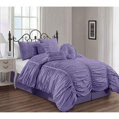 Coral Bedding Sets, Queen Comforter Sets, Cool Comforters, Bedspreads Comforters, Accent Wall Bedroom, Bedroom Decor, Bedroom Ideas, Purple Rooms, Ruffle Bedding