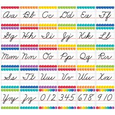 This Cursive Manuscript Alphabet Line bulletin board is accented by a colorful herringbone pattern. Use this cursive alphabet line as a handy reference for students who are just learning cursive writi