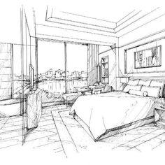 Hand rendering of luxury guest room. Design credit: HBA. www.MichaelFlynnStudios. #handrendering #interiorrenderings #3Drendering #3dinteriorrendering #interiordesignrendering