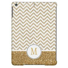 Gold Glam Faux Glitter Chevron iPad air case, but with an A on it