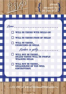 """""""Picnic Please""""- a cute RSVP card for a picnic style wedding reception. (Seriously this just makes me laugh!)"""