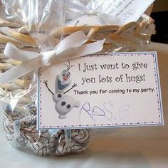 Thank you cards or place settings with Chocolate kisses, mini pretzels, clusters in a bag.
