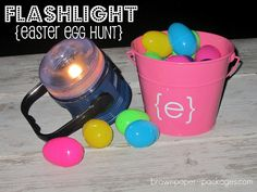 Flashlight Easter egg hunt - dark does half the work, great for older kids that are less excited by the traditional hunt, and kids love flashlights!