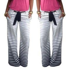 Striped Casual Wide Leg Pants