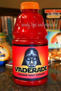 Make your own labels & put on kids juices, cans of softdrinks, etc. to create Vaderade and/or Yoda Soda - love it!! Download the labels here - http://www.sandytoesandpopsicles.com/wp-content/uploads/2013/06/Star-Wars-Kit_Jill-Parkin-Designs.pdf