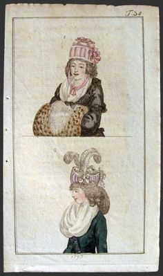 1793 Antique Hand-Colored Fashion Print ~ Woman with Muff