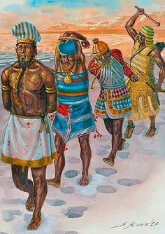 The first Egyptian Campaign, 1207 BC ~ art by Giuseppe Rava