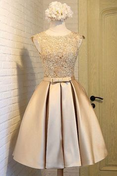 Light golden satins lace round neck homecoming dress