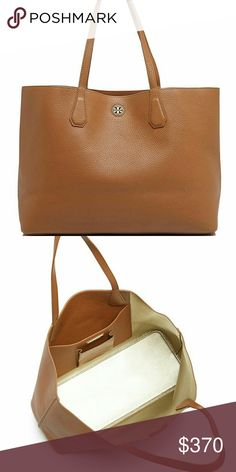 "Tory Burch Perry Tote New! Gorgeous Tory Burch Perry Tote - spacious and Lightweight lightly textured leather  -lightly textured leather -color is bark brown with light gold interior  -open top -spacious -lightweight  -double handles -14.9""width, 11.3""h Tory Burch Bags"
