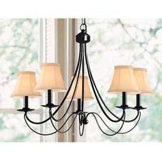@Overstock.com - Iron 5-light Black Chandelier - Update the look of your dining room with this modern black chandelier. It has five lights to ensure that ample lighting is provided to the room so that you can always see what you are eating. The black candles create a professional decorated look.  http://www.overstock.com/Home-Garden/Iron-5-light-Black-Chandelier/3285751/product.html?CID=214117 $95.39
