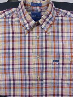 Faconnable Mens Button Down Dress Shirt Plaid Cotton size Medium #Faconnable