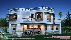 feet meters modern house plan via story luxury home design square yards Free House Plans, House Plans One Story, Ranch House Plans, Best House Plans, Indian Home Design, Kerala House Design, 2 Storey House Design, House Front Design, Modern House Design
