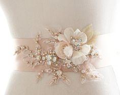 Floral Bridal Headpiece Crystal Bridal by abigailgracebridal