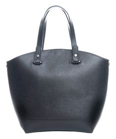 Another great find on #zulily! Black Smooth Leather Tote #zulilyfinds