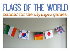 Flag banner- world thinking day. Olympics World friendship day Girl scouts Summer Camp Crafts, Camping Crafts, Olympic Idea, Olympic Games, Olympic Crafts, Activities For Kids, Crafts For Kids, World Thinking Day, World Crafts