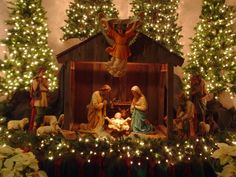 Nativity~~~~The reason for the season~~~~I want to put all those little trees, greens, and lights around mine. Anyone who really celebrates Christmas needs to have a Nativity manger. Let's all get going on that! Remember, Jesus is the reason! Christmas Manger, Christmas Nativity Scene, Christmas Love, Beautiful Christmas, Christmas Lights, Vintage Christmas, Christmas Holidays, Nativity Scenes, Merry Christmas