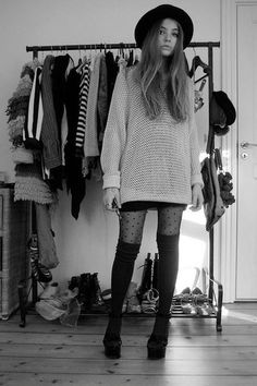 Polka dot burn out tights, black over the knee socks, wedge booties and oversized sweater. love!