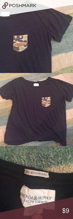Boyfriend Cropped Tee Boyfriend Cropped Tee- camo pocket! Good condition Denim & Supply Ralph Lauren Tops Tees - Short Sleeve
