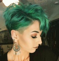 Curly Pixie Hairstyle for Bangs - Stylish Short Haircuts with Green Hair
