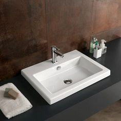 Ceramica Tecla Cangas Rectangular Ceramic Self Rimming Sink with Overflow Faucet Mount: No Hole