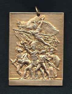 French / Art Nouveau Bronze Medal Victory Revolutionary Plaque by DUBOIS. M36
