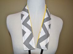 Camera Strap, narrow / padded with foam for comfort, Darby Mack / dslr gear / camera gear /Grey Chevron with yellow