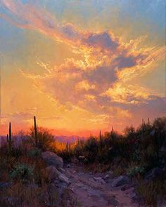"""Sonoran Glow"" an amazing Arizona landscape by featured artist Becky Joy. See her work at www.ArtsyShark.com"