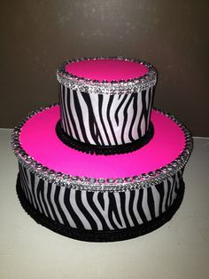 Cake Pop Pink Zebra Print Cake stand/Topper Centerpiece display/Party/Table Decoration with bling rhinestones