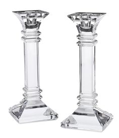 Handcrafted square& candlestick pair of full lead crystal& Matching set available in two heights& or Waterford Marquis, Waterford Crystal, Candlestick Holders, Candlesticks, Cut Glass, Glass Art, Square Columns, Wine Bottle Crafts, Accent Decor