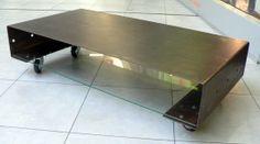 table-basse-moderne-métal-verre-sur roulettes