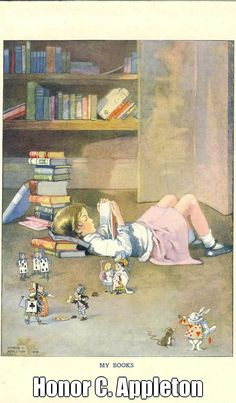 My Books, 1919, by Honor C APPLETON (Artist. UK, 1879-1951). From Blackie's Children's Annual, 1921 ed.