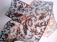 Filligree Copper Wide Wired Sheer Ribbon by PrimroseLaceRibbon, $3.75