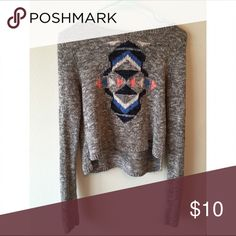 """Hollister Scoop neck """"tribal"""" print shirt Crop top knitted top. Slightly longer in back than in front. Worn a couple times but in good condition Hollister Tops Blouses"""