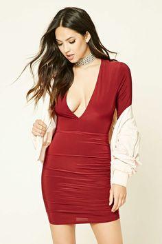 Deep V-Neck Bodycon Dress