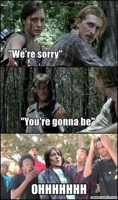 The Walking Dead funny meme (I'm watching this rn!! That's so weird :O!!!)