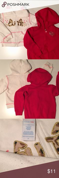 Toddler Girl 3T Hooded Sweatshirt Bundle Gently used toddler girl 3T hooded sweatshirt bundle. Wonder kids cutie cat ears. Okie Dokie red love. Some fuzz balls on white one at elbows, shown in pic. Okie Dokie Shirts & Tops Sweatshirts & Hoodies