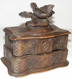 ___ pięknie rzeźbiona szkatułka 2-poziomowa E03926