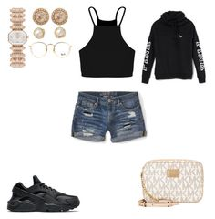 """Untitled #67"" by janiyahjoseph ❤ liked on Polyvore featuring Boohoo, Aéropostale, NIKE, Michael Kors, Emporio Armani, Zoe, Victoria's Secret and Ray-Ban"