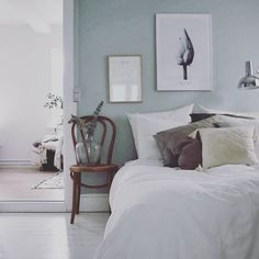 """207 Likes, 1 Comments - my scandinavian home (@myscandinavianhome) on Instagram: """"How perfect is this pale green- light blue colour in the bedroom of @emilie_schwartzlose? Take a…"""""""