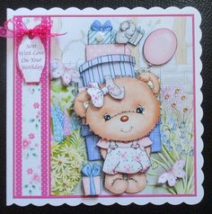 PARTY GIRL BEAR 7 5 Decoupage   Insert Mini Kit  on Craftsuprint created by Davina Rundle - I printed on to matte photo paper.  Mounted the topper on to a card and layered. Added gems, a pearl rose, a sentiment tag and a bow.  A gorgeous design.If you purchase this finished card please let me know your choice of sentiment  / name. Printable Crafts, Printables, Pearl Rose, Cute Cards, Decoupage, Card Making, Bows, Kit, Paper
