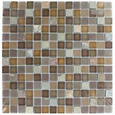 Splashback Tile Tectonic Squares Multicolor Slate and Earth Blend Glass Tiles - 6 in. x 6 in.Tile Sample-R6B4 - The Home Depot